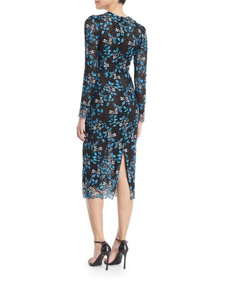 Long-Sleeve Floral-Lace Tea-Length Cocktail Dress