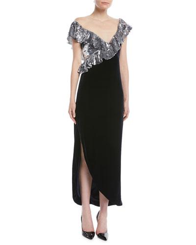Illusion-Neck Sequin-Ruffle Tea-Length Velvet Cocktail Dress
