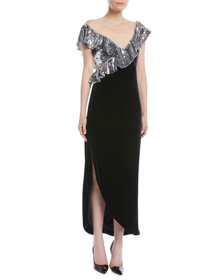 Illusion-Neck Sequin-Ruffle Tea-Length Velvet Cocktail Dress