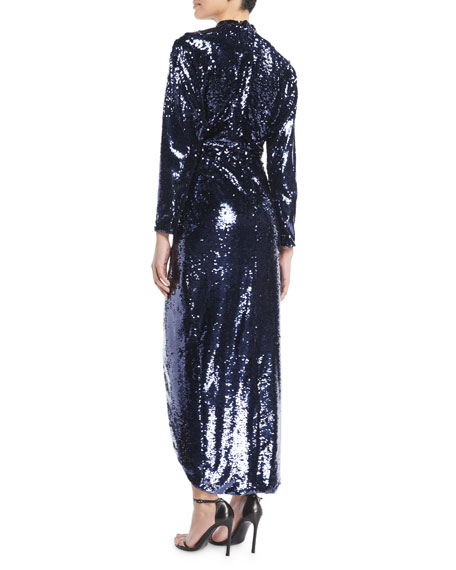 Mock-Neck V-Neck Long-Sleeve Faux-Wrap Sequin Cocktail Dress