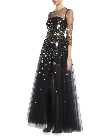 Monique Lhuillier 3/4-Sleeve Macro-Paillette Tulle Evening Gown