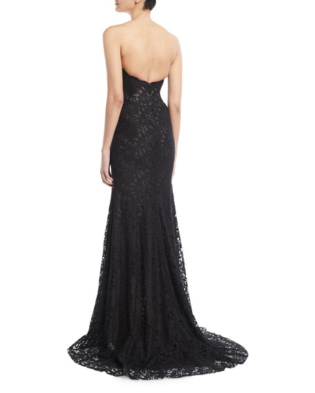 Strapless Sweetheart-Neck Front-Slit Lace Evening Gown w/ Train