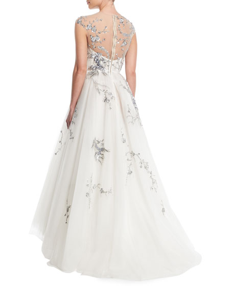 Illusion-Yoke Sequin-Embroidered Tulle Evening Gown