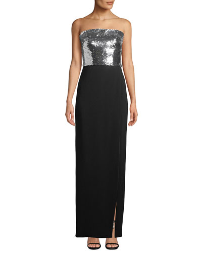 Strapless Sequin-Bodice Crepe Column Evening Gown w/ Slit