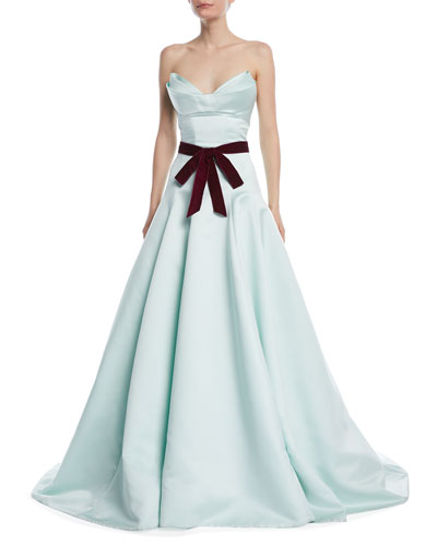 Strapless Evening Gown with Velvet Tie-Waist and Train
