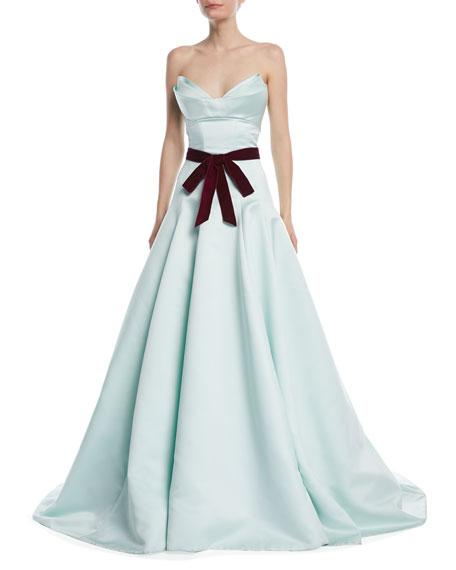 Monique Lhuillier Strapless Evening Gown with Velvet Tie-Waist