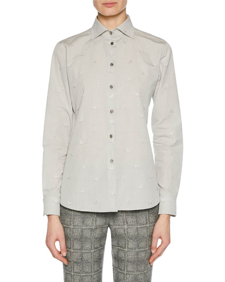 Giorgio Armani Long-Sleeve Button-Front Classic Cotton Blouse w/
