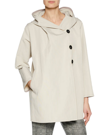 Giorgio Armani 3-Button Hooded Rain-Repellant Caban Jacket and