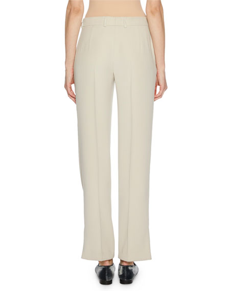 Mid-Rise Straight-Leg Cady Trousers w/ Side Vent Hem