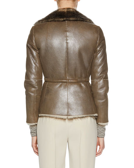 Metallic Belted Shearling Fur Jacket