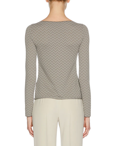Boat-Neck Long-Sleeve Herringbone Jacquard Knit Top