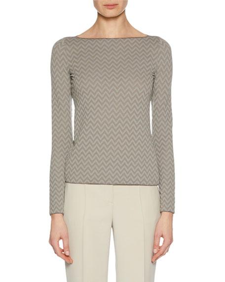 Giorgio Armani Boat-Neck Long-Sleeve Herringbone Jacquard Knit