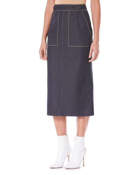 Pencil Midi Skirt with Pockets