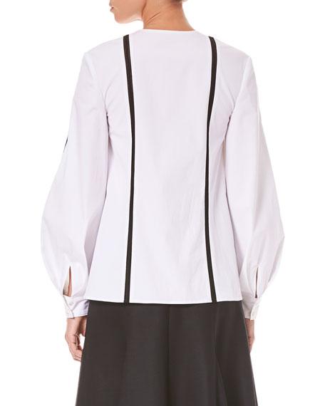 Vertical-Stripe Button-Front Cotton Shirt