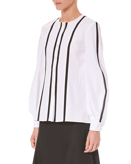 Vertical-Stripe Button-Front Cotton Shirt