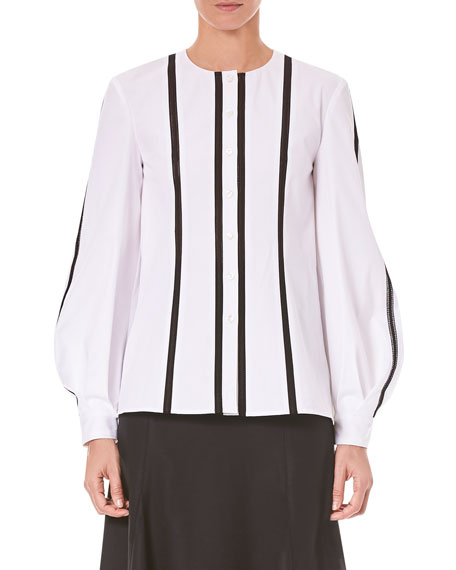 Carolina Herrera Vertical-Stripe Button-Front Wool Shirt
