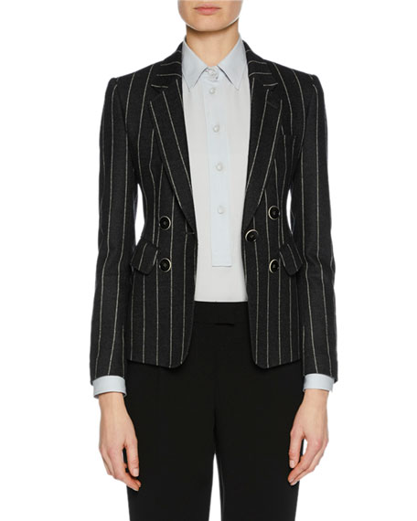 Faux Double-Breasted Striped Flannel Jacket