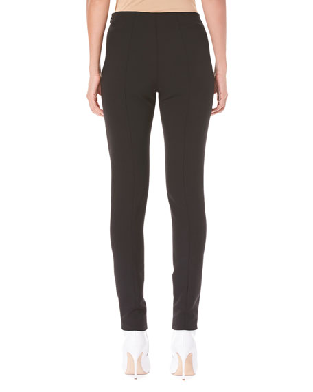 Side-Zip Skinny Wool-Blend Pants