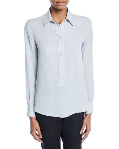 Long-Sleeve Button-Front Stretch-Silk Popover Blouse