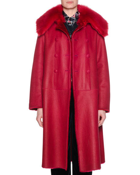 Reversible Double-Breasted Lamb Shearling Fur Mid-Calf Coat