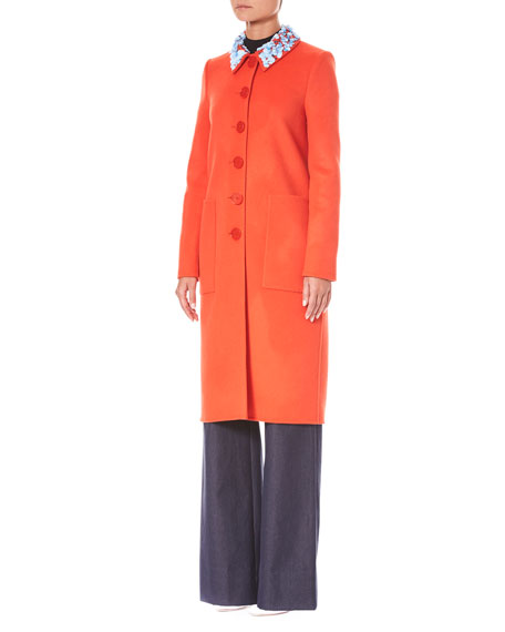 Button-Front Embroidered-Collar Wool-Cashmere Coat