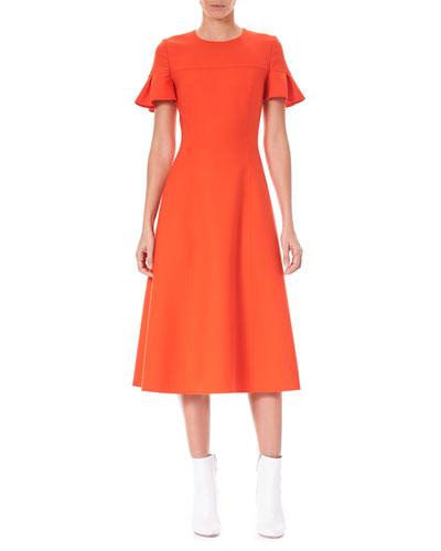 Ruffle-Sleeve Fit-and-Flare Wool-Blend Midi Dress
