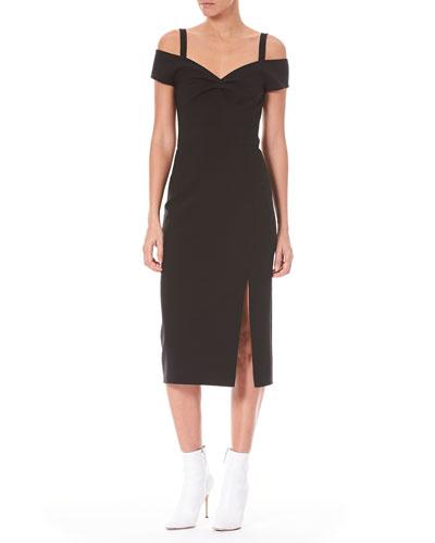 Off-the-Shoulder Wool Cocktail Dress