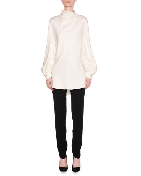 Ruched-Neck Long-Sleeve Silk Cady Asymmetric Tunic Blouse