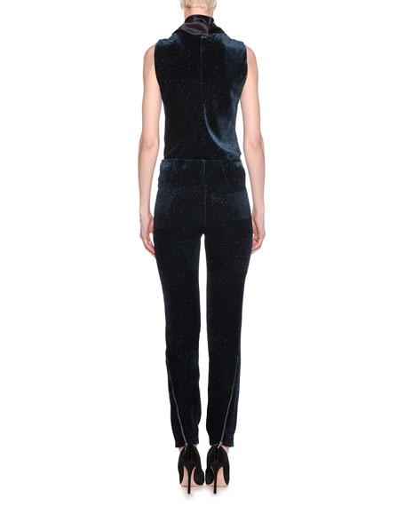 Mid-Rise Skinny Pinstripe Glitter Velvet Pants
