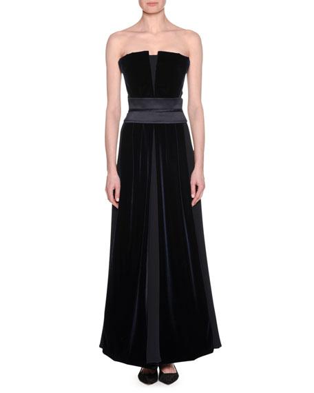 Strapless Silk Velvet-Inset Gown