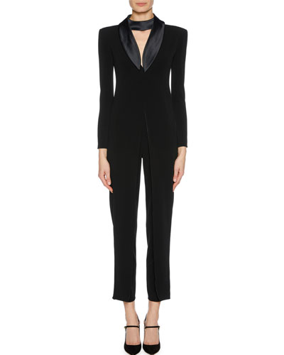 V-Neck Jumpsuit w/ Flap & Neck Tie