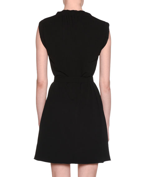 Stand-Collar Sleeveless A-Line Self-Belt Plisse Jersey Dress