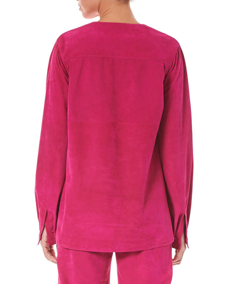 Split-Neck Long-Sleeve Suede Blouse