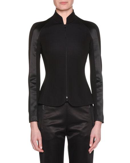 Zip-Front Viscose Jersey Jacket w/ Satin Inset