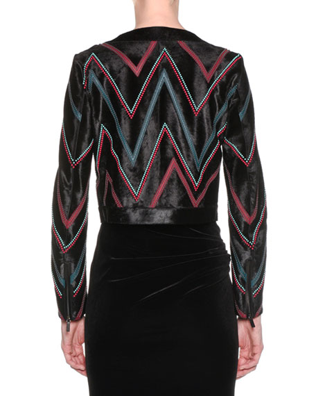 Zip-Front Chevron Calf Hair Leather Jacket w/ Beading