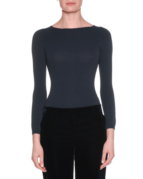 Round-Neck Long-Sleeve Thin Knit Wool-Cashmere Top
