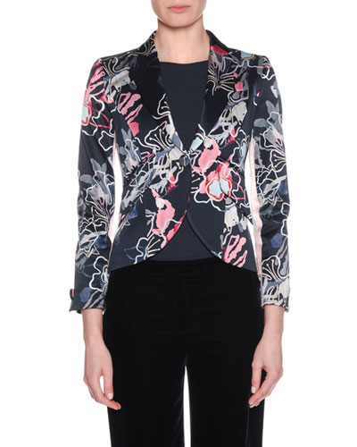 One-Button Abstract Floral-Print Double-Face Crepe Crop Jacket