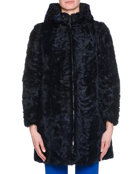 Zip-Front Curly Lamb Shearling Reversible Padded Coat