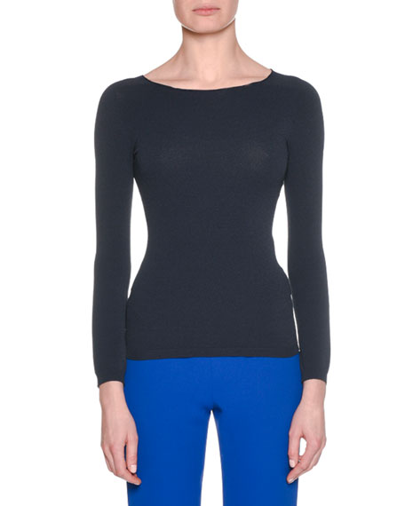 Long-Sleeve Round-Neck Fitted Pullover Knit Top, Navy