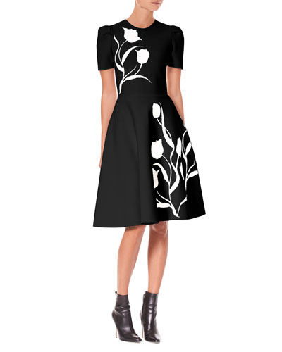 Short-Sleeve Tulip-Jacquard Fit-and-Flare Dress