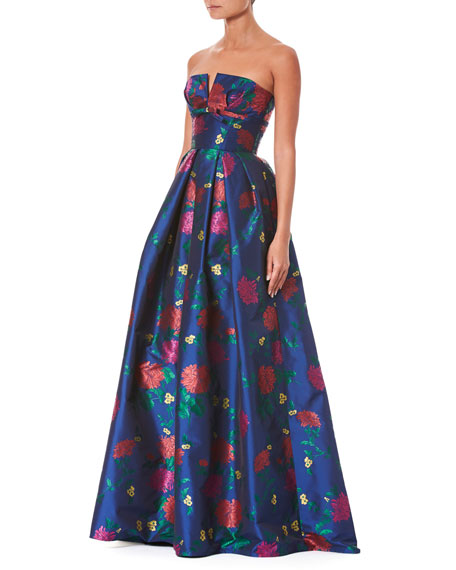 Strapless Bustier Floral-Print Evening Gown
