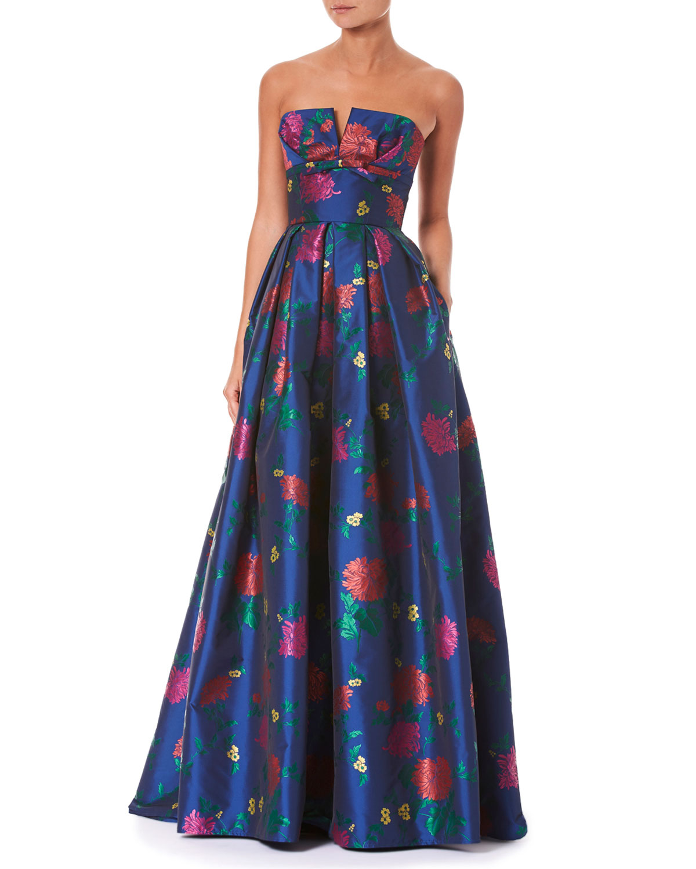 Carolina Herrera Strapless Bustier Floral-Print Evening Gown ...