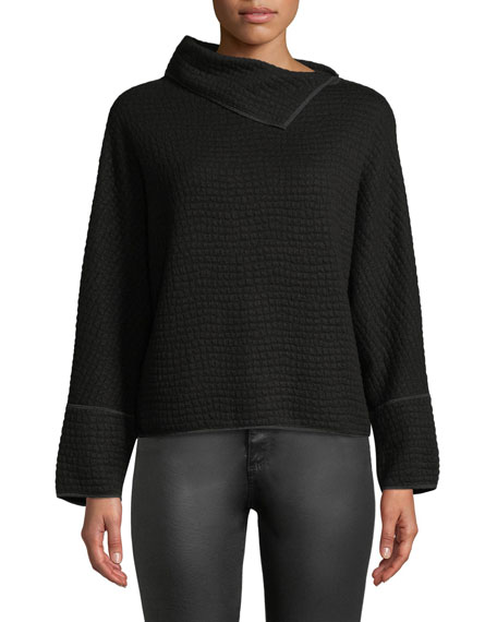 Long-Sleeve Jersey Jacquard Knit Top w/ Fold-Over Collar