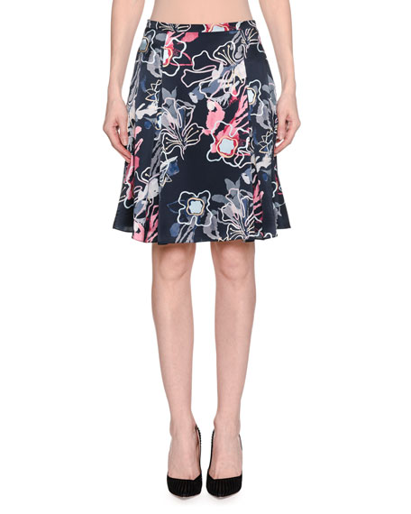 Abstract Floral-Print Silk Satin A-Line Knee-Length Skirt