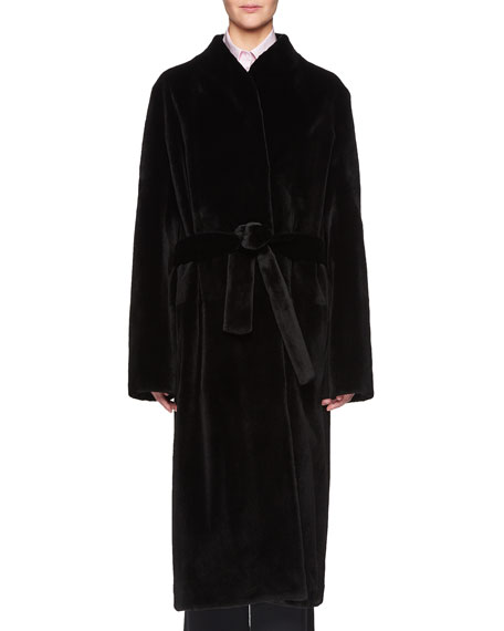 Paret Belted Long Mink Fur Coat