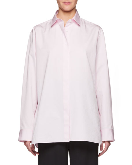 THE ROW Big Sisea Button-Front Long-Sleeve Cotton Oxford