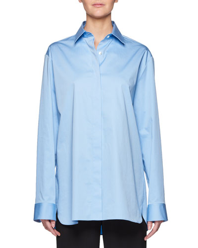 Big Sisea Button-Front Long-Sleeve Cotton-Stretch Shirt