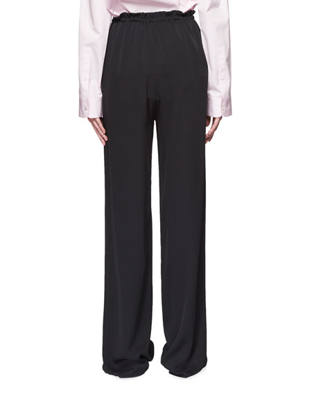 JR Tie-Waist Straight-Leg Silk Pants