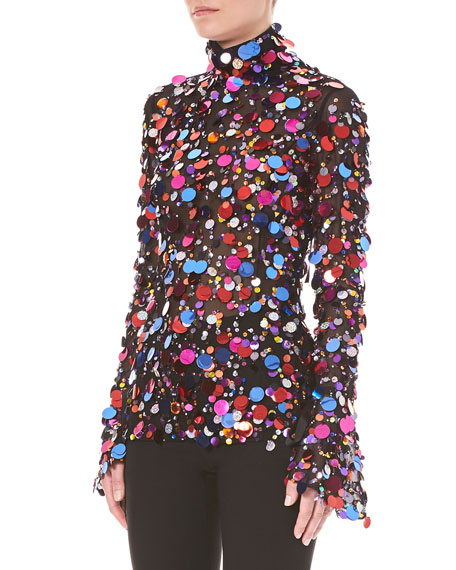 Turtleneck Long-Sleeve Paillette-Embellished Cocktail Blouse w/ Back Ties