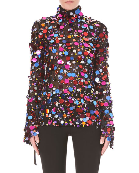 Carolina Herrera Turtleneck Long-Sleeve Paillette-Embellished Cocktail Blouse w/ Back Ties